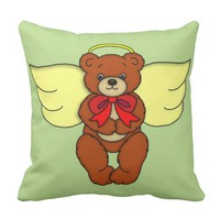 Teddy Bear Angel Front and Backside Art Graphic Throw Pillow