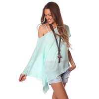 TURQUOISE LONG SLEEVE ONE SHOULDER TOP