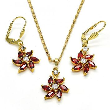 Gold Layered 10.283.0016 Necklace and Earring, Flower Design, with White and Garnet Cubic Zirconia, Polished Finish, Golden Tone