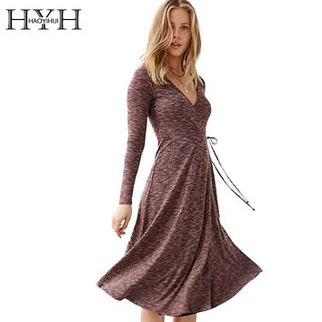 HYH HAOYIHUI 2017 Brand New Autumn Fashion Women High Waist  Ruffles Bow Tie Dress Long Sleeve Deep V-neck Sexy Slim Dress