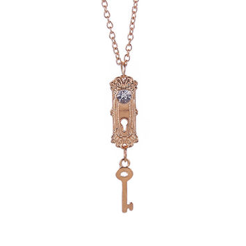 Alice in Wonderland necklace lock and key crystal gold pendant