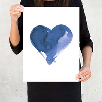 Watercolor Painting Abstract Art Painting Original Art Minimalist Wall Decor Ink Blue Navy Indigo Heart Love Large Print  GICLEE PRINT