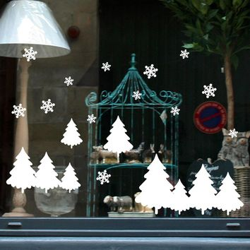 PVC Christmas Decoration Window Wall Stickers Tree Snowflake Mural Art Wall Vinyl Decal For Kids Room Shop Home Decor F1020