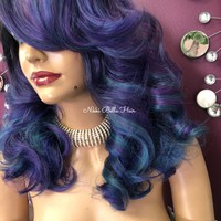 """Blue Purple Curly Wavy Long Swiss Multi Parting Lace Front Wig 14"""" 0818 8 ON SALE"""