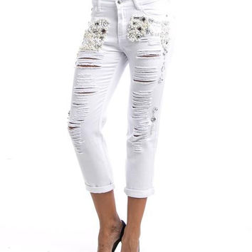 White Ripped Boyfriend Jeans With Diamonds Studs And Pearls SP1011