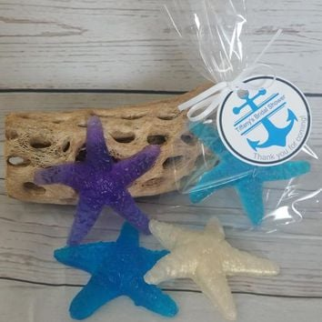 Starfish Soap Bridal Shower Party Favors - Nautical Theme Wedding Favors Custom Made for Beach Party - Pack of 10