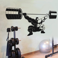 CrossFit Training Wall Decal, Strong Man Training Sticker, Home Gym Bodybuilding Wall Decor, Barbell Training CrossFit Decor Mural Art se162