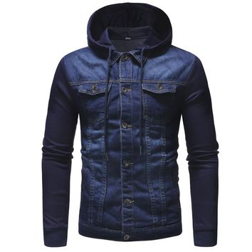 Men's new brand denim jacket men's hooded sportswear outdoor casual fashion jeans jacket Hoodies Cowboy Mens Jacket and Coat