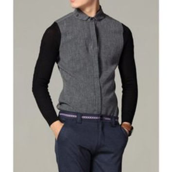 Casual Style Elegant Shirt Collar Color Block Long Sleeves Men's Linen Shirt