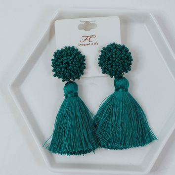 Extra Beaded Fringe Earrings (Teal)