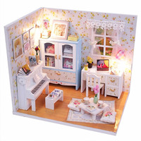 Handmade DIY Dollhouse Wood Doll House Miniature Furniture Kits With LED Piano Kids Toy Sets