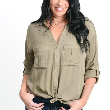Olive Double Pocket Top