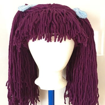 Handmade Crochet yarn Hair wig,women, baby, kids, purple hair, wig, yarn hair, yarn wig, hat wig Halloween wig costume