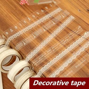 10 pcs/Lot Lace Adhesive tape Japanese masking tape Decorative stickers Stationery Scrapbooking sticky School supplies 6602