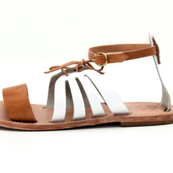 FREE SHIPPING-Salamina White/Natural- A favorite classic Greek sandal handmade in a fashion forward black and natural leather color block