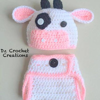 Crochet Cow Set - Crochet Animal - Baby Set - Crochet Photo Prop - Photo Prop - Cow Beanie  - Diaper Cover - Crochet - Character - Beanie