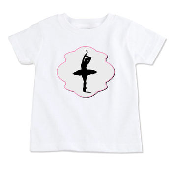 T-Shirt-Birthday T-Shirt-Party T-Shirt-Personalized-Custom T-Shirts-Ballerina Silhouette-Front Only
