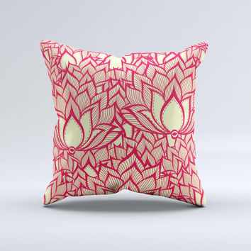 Sketched Red and Yellow Flowers  Ink-Fuzed Decorative Throw Pillow