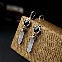 2016 new fashion clear and black stone statement earrings