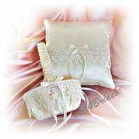 Ivory lace wedding ring bearer pillow and flower girl basket