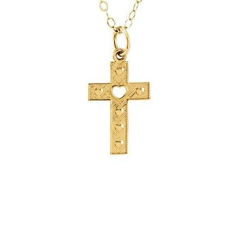 Youth Textured Heart Cross Necklace in 14k Yellow Gold, 15 Inch