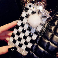 "iPhone 6 Plus Case, MC Fashion Handmade Square Crystal Rhinestone 3D Diamante Hard Shell Phone Case Compatible for Apple iPhone 6 Plus 5.5"" (2014) ONLY (Black+White)"
