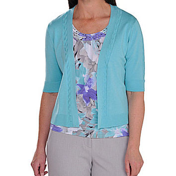 Allison Daley Petite 3/4-Sleeve Shrug - Aqua