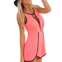 Women's Sexy Hollow Sleeveless Pants Shorts Playsuit Jumpsuit Rompers