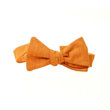 Solid Copper Orange Melange Bow Tie