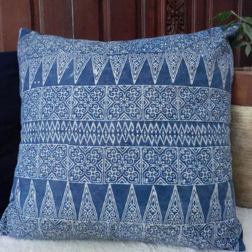 "30"" Authentic Ethnic Hmong Indigo Batik Floor Pillow Cushion Covers"