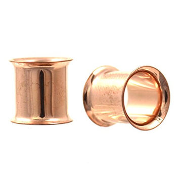 Pair of Rose Gold Color Ion Plated Double Flared Ear Plug Tunnels - 0G 8mm