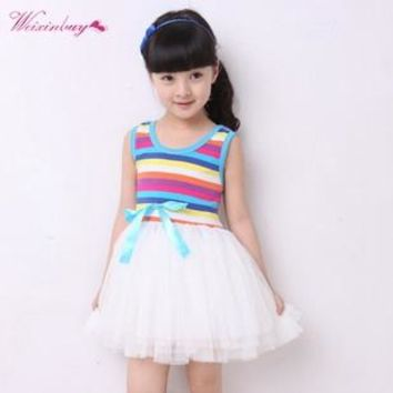 summer fashion new baby girl ball gown dress lace+cotton material 4 colors