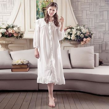 Retro palace nightgowns for womens cotton home dress for sleeping female sleep dress women sleepwear loose big size nightdress