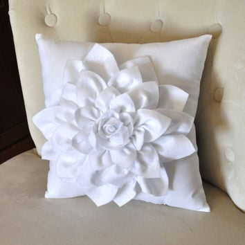 Dahlia Felt Flower on White Pillow -Mum Flower-