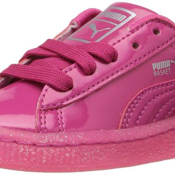 PUMA Kids' Basket Patent Iced Glitter Inf Running Shoe Beetroot Purple-beetroot Purple