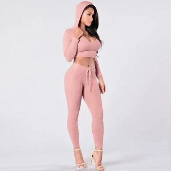 ICIKFV3 Tracksuit Women Sexy Ribbed Hoodies Set Casual Long Sleeve Track Suit Costumes Pullovers Crop Hooded Sweatshirt+Pants
