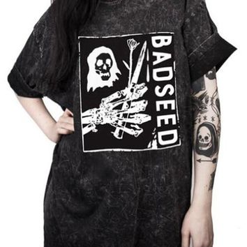 Dark Grey Weird Skull Story Unisex Print Elbow Sleeve T-shirt