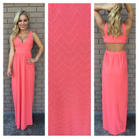 Coral Zig Zag Texture Maxi Dress