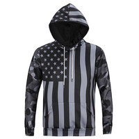 American Flag All Over Print Black and White Camouflage United States Flag Hoodie