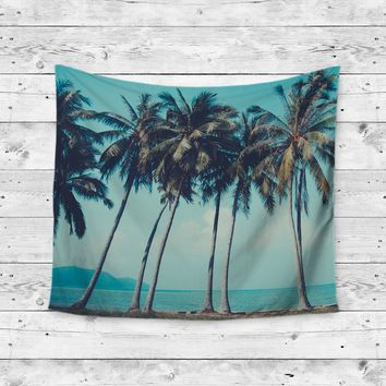 Aloha Palm Tree Beach Coast Wall Tapestry