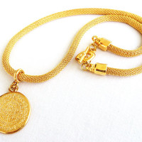 Gold Plated Phaistos Disc Pendant Necklace with Gold Plated Steel Net Chain, Greek Design Necklace, Unisex Statement Necklace