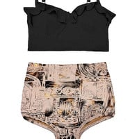 Black Midkini Top and Coral Graphic High Waisted Waist High-waist High-Waisted Highwaisted Highwaist Swimsuit Bikini Swim Bathing suit S M