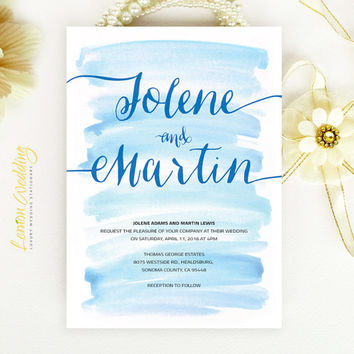 Nautical royal blue watercolor wedding Invitation | Simple calligraphy script invitation | Printed on luxury white pearlescent paper