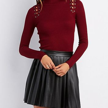 Ribbed Lace-Up Turtleneck Top
