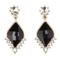 Black Faceted Stone Drop Earrings by Charlotte Russe