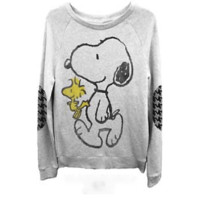 Peanuts – Snoopy &  Woodstock Junior's Sweatshirt In Light Grey Heather | Thirteen Vintage