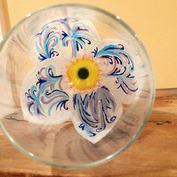 Decorated Hand Painted Flower Wine Glass