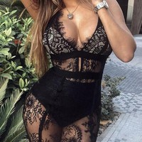New Black Floral Lace Deep V-neck Spaghetti Strap Sheer Clubwear Birthday Bodycon Mini Dress