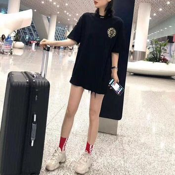 """Chrome Hearts"" Women Loose Casual Personality Gilding Cross Letter Print Short Sleeve Middle Long Section T-shirt Dress"