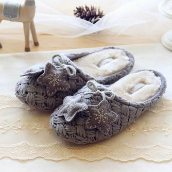 New Women Winter Warm Cotton-padded Slipper Soft Bottom Indoor Snowflake Deer Indoor Home Shoes Plush Warm Slippers